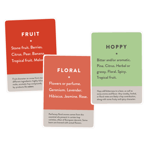 Cards with the words Hoppy, Floral, Fruity