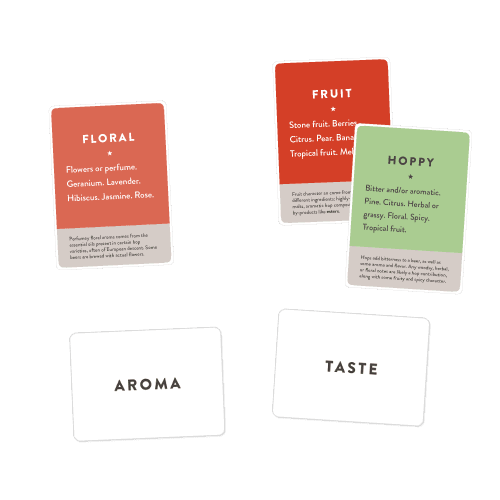 The same cards, with the addition of Evaluation cards saying Appearance, Aroma, and Taste